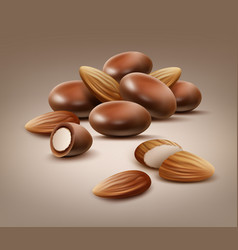 Handful almond nuts vector