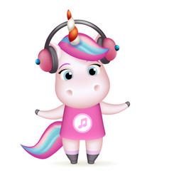 Happy girl unicorn headphones listen music vector