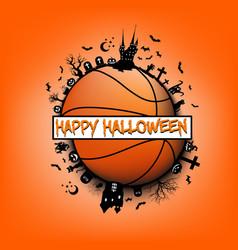 happy halloween and basketball ball vector image