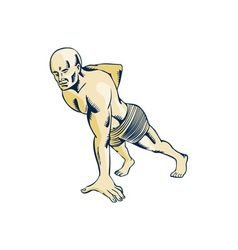 High Intensity Interval Training Push-up Etching vector image