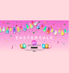 horizontal easter sale banner with colorful vector image