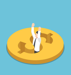 isometric businessman falling into the hole vector image