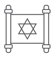 Jewish torah thin line icon israel and paper vector