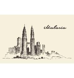 Kuala Lumpur skyline Malaysia drawn vector