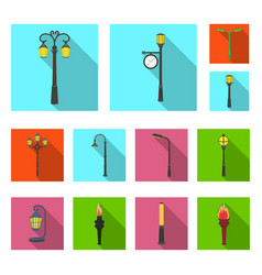 Lamp post flat icons in set collection for design vector