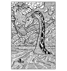 loch ness lake monster nessie engraved fantasy vector image