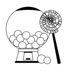 Lollipop and gums dispenser crystal ball in black vector