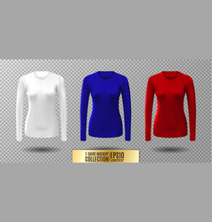 Long sleeve blank shirt white red and vector