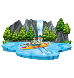 Man canoeing in the lake vector