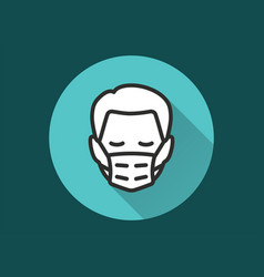 Man in medical face mask icon for graphic and web vector
