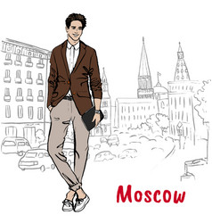 Man with shopping bags in moscow vector
