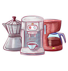 moka pot and coffee making machine set vector image