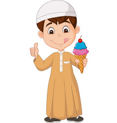 Muslim boy holding an ice cream vector