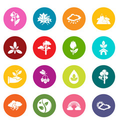 nature icons set colorful circles vector image