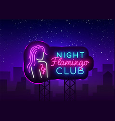 Night club neon logo flamingo neon sign vector