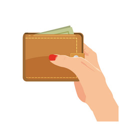 payment concept hand holding wallet with dollars vector image