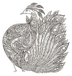 Peacock vintage fantasy bird with ornament vector