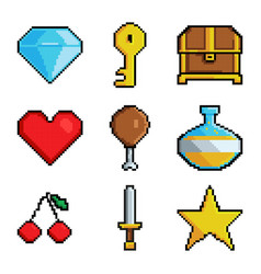 pixel graphic game objects 8 bit style pictures vector image