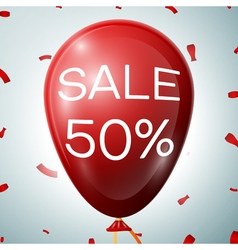 Red Baloon with 50 percent discounts SALE concept vector