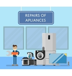 Repairs of appliances banner with electro technics vector
