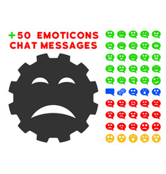 sadly smiley gear icon with bonus smiley set vector image