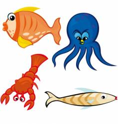 sea life characters vector image