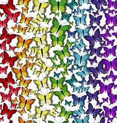 Seamless pattern with rainbow butterflies vector image