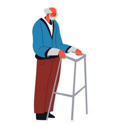 Senior man walking with support metal construction vector