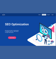 Seo optimization 3d lp template vector