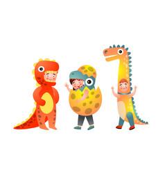 Set cute smiling boys in colorful dinosaur vector