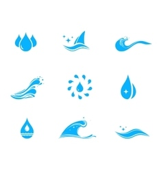 Set icon with drop and wave vector