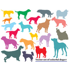 Set of colorful dogs silhouettes vector