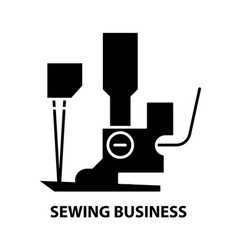 Sewing business icon black sign with vector