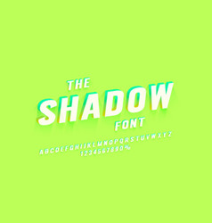 shadow font set collection letters and numbers vector image