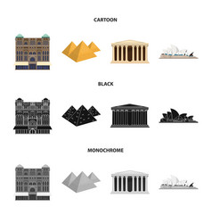 Sights of different countries cartoonblack vector