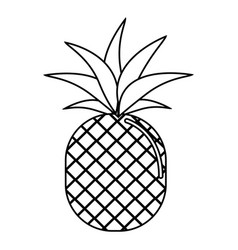 silhouette delicious pineapple fruit icon vector image