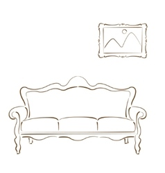 Sketched sofa couch and picture on wall vector