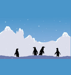 snow mountain scenery with penguin silhouette vector image