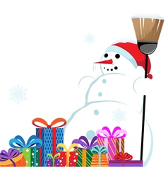 snowman in a red Santa Hat with a broom vector image