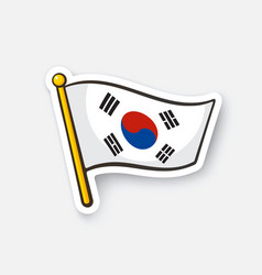 sticker flag south korea on flagstaff vector image
