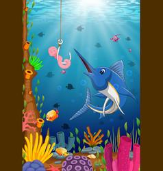Swordfish considers taking the bait worm smile vector