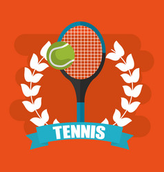 tennis racket and ball wreath banner vector image