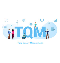 Tqm total quality management concept with big vector