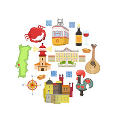 travel to portugal portuguese landmarks and vector image