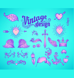 vintage design elements set ribbons in bright vector image