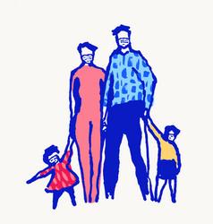 whole family mask covid19 19 coronavirus air vector image