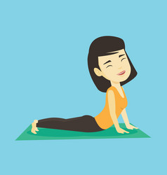 Woman practicing yoga upward dog pose vector