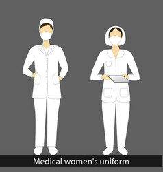 Womens in medical suit and mask in various design vector