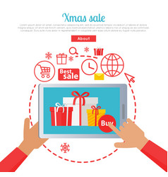 xmas sale hand holding tablet and buying gifts vector image