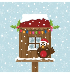 christmas birdhouse vector image vector image